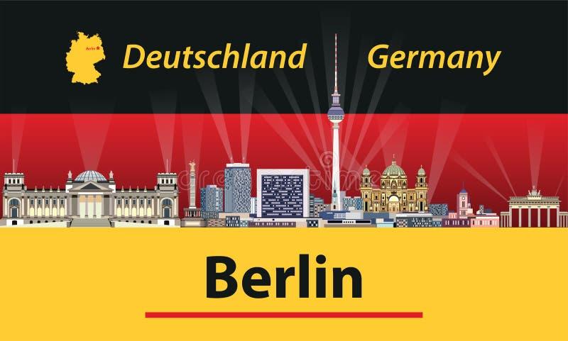 Dirigez l'illustration de l'horizon de ville de Berlin avec le drapeau de l'Allemagne sur le fond illustration stock
