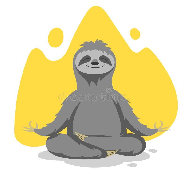 Dirigez l'illustration de l'exercice de pratique de yoga de paresse mignonne heureuse illustration de vecteur