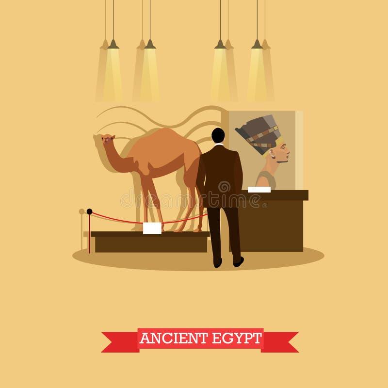 Dirigez l'illustration de l'exposition d'Egypte antique dans le musée archéologique illustration de vecteur