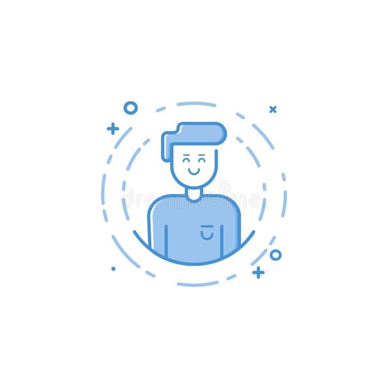 Dirigez l'illustration de l'homme de sourire rempli d'icône audacieuse d'ensemble en cercle dans la ligne style plate illustration libre de droits