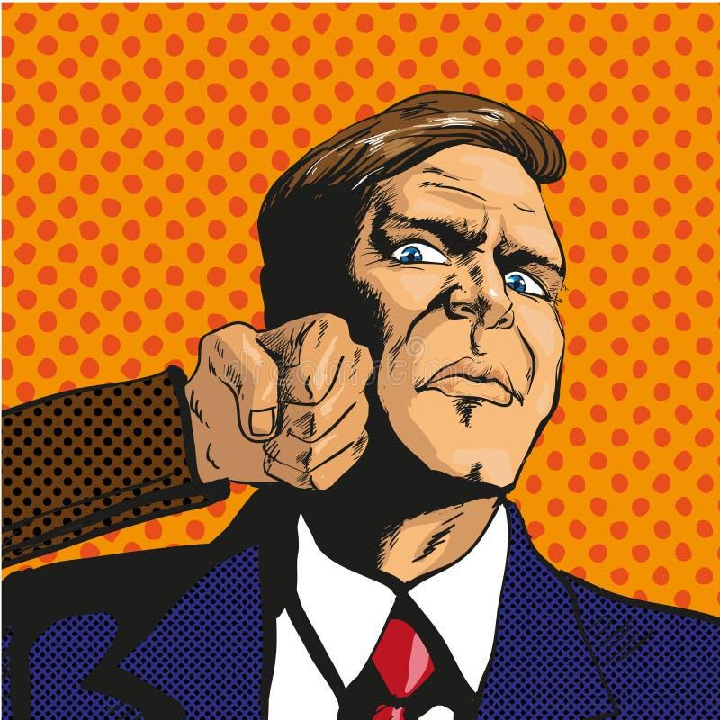 Dirigez l'illustration de l'homme faisant face à des difficultés, dans le style d'art de bruit illustration de vecteur