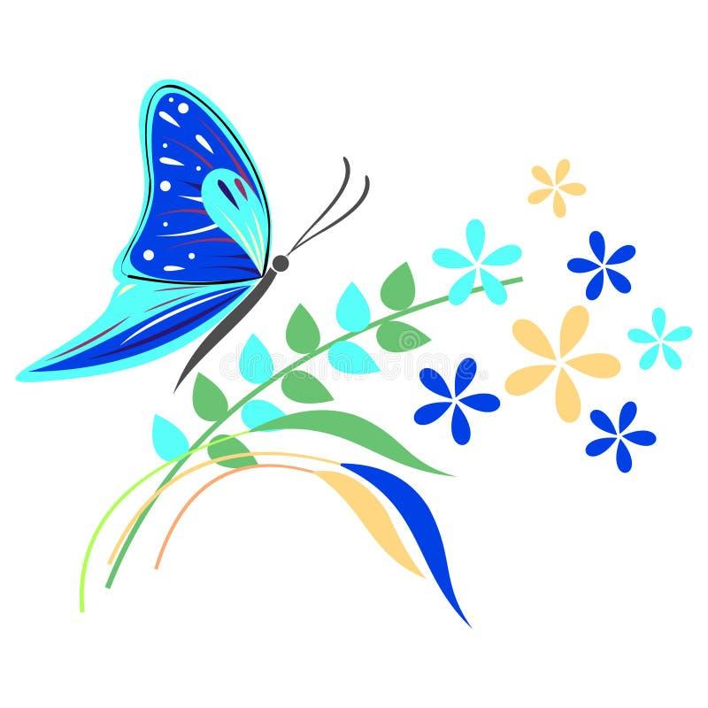 Dirigez l'illustration de l'insecte, du papillon bleu, des fleurs et des branches avec des feuilles, d'isolement sur le fond blan illustration stock