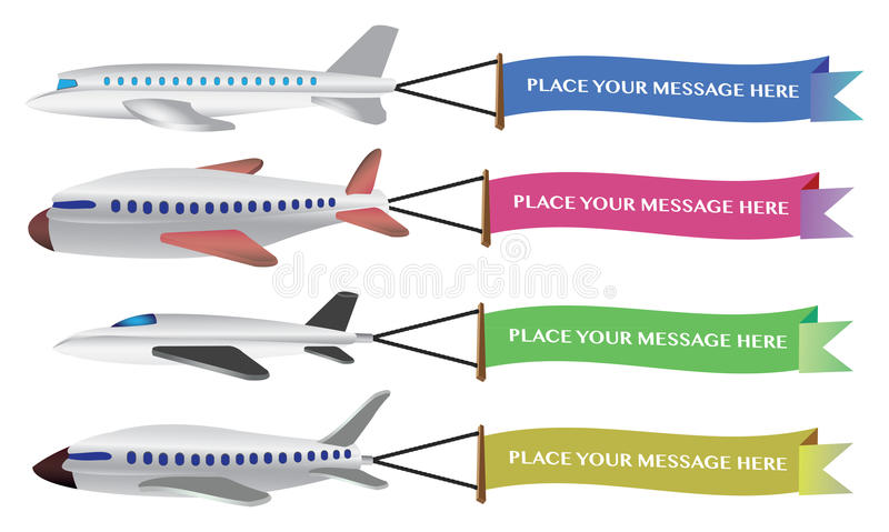 Dirigez l'illustration de l'quatre avions avec des bannières. illustration stock