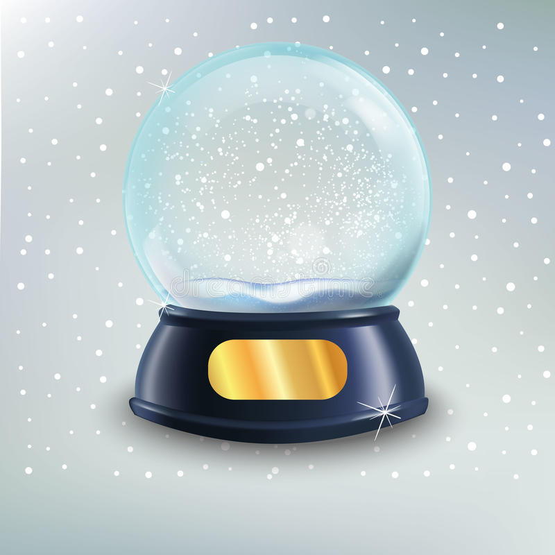 Dirigez l'illustration de la boule de globe de neige les chrismas que réalistes de nouvelle année objectent d'isolement illustration libre de droits