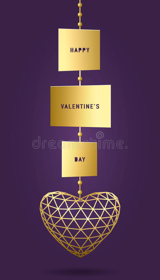 Dirigez l'illustration de la carte de jour de valentines avec le pendant d'or, coeur de triangle illustration de vecteur
