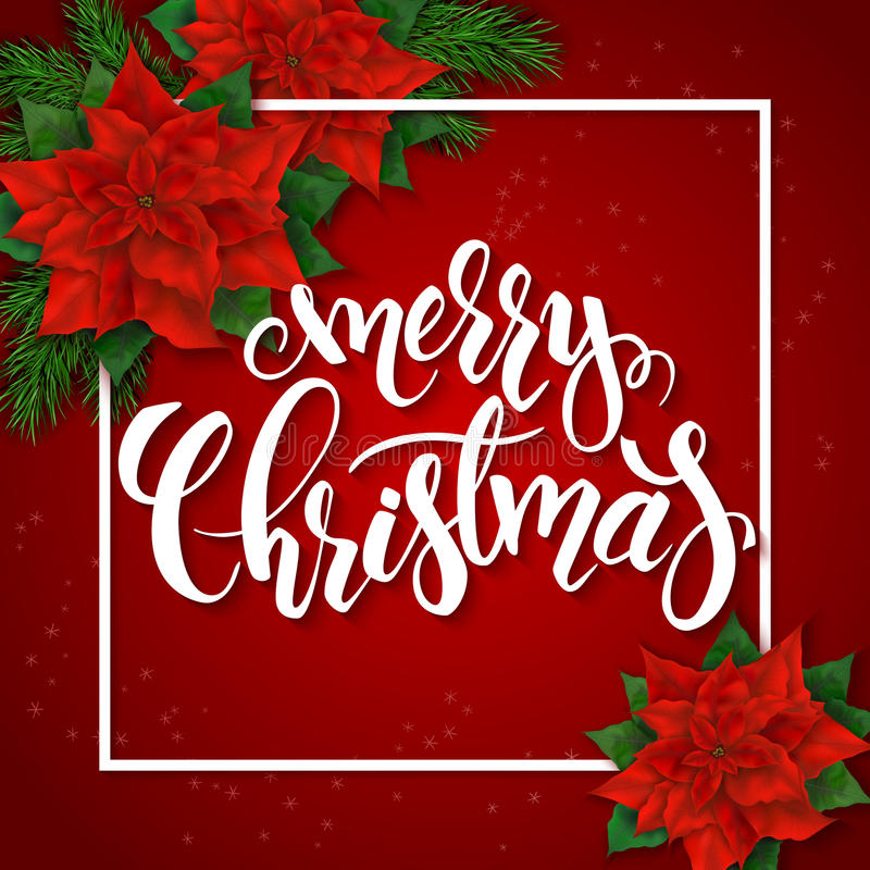 Dirigez l'illustration de la carte de voeux rouge de Noël avec le cadre de rectangle, les fleurs de poinsettia et le label de let illustration libre de droits