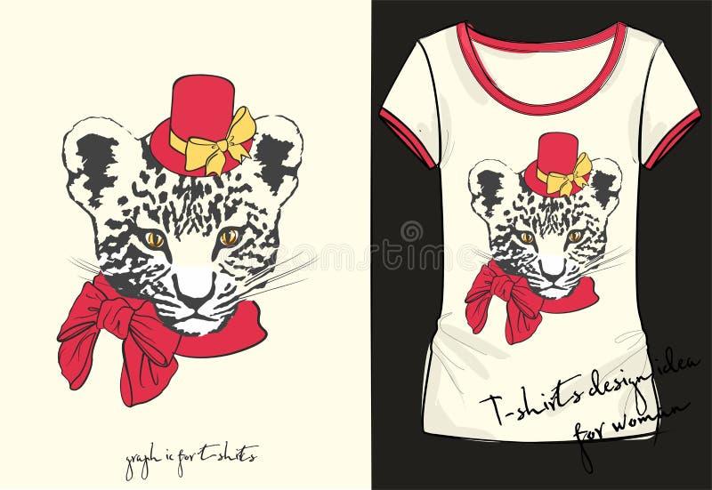 Dirigez l'illustration de la chemise à la mode de douille de short du ` s de femmes de croquis avec la copie élégante avec l'insc illustration libre de droits