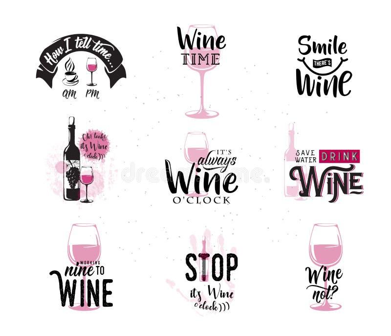 Dirigez l'illustration de la citation typographique connexe par vin de boissons illustration stock