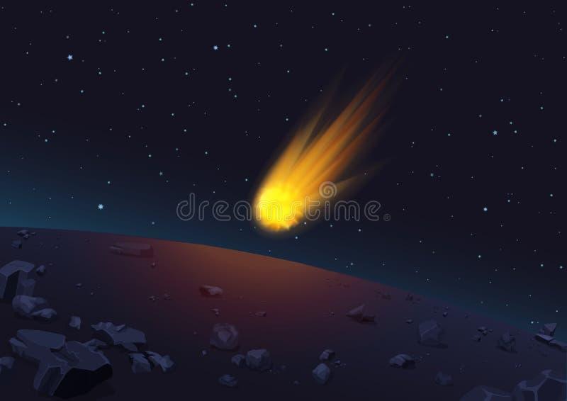 Dirigez l'illustration de la comète rougeoyante tombant à la planète dans l'espace illustration libre de droits