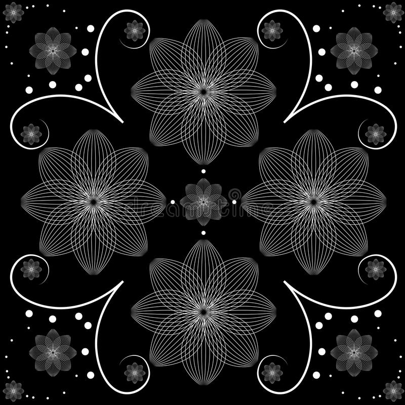 Dirigez l'illustration de la conception florale blanche au-dessus du fond noir illustration de vecteur