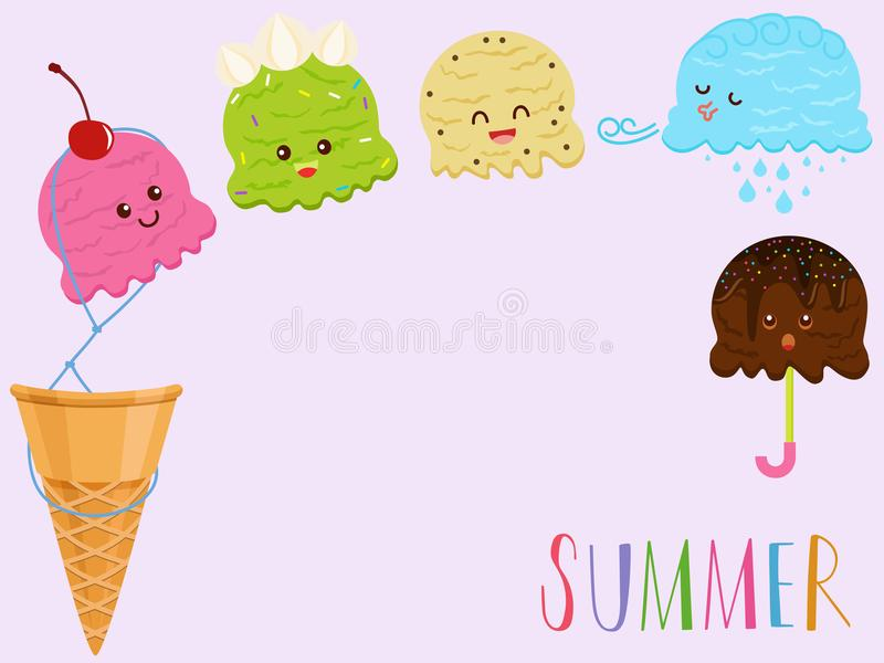 Dirigez l'illustration de la crème glacée de sourire colorée mignonne illustration libre de droits