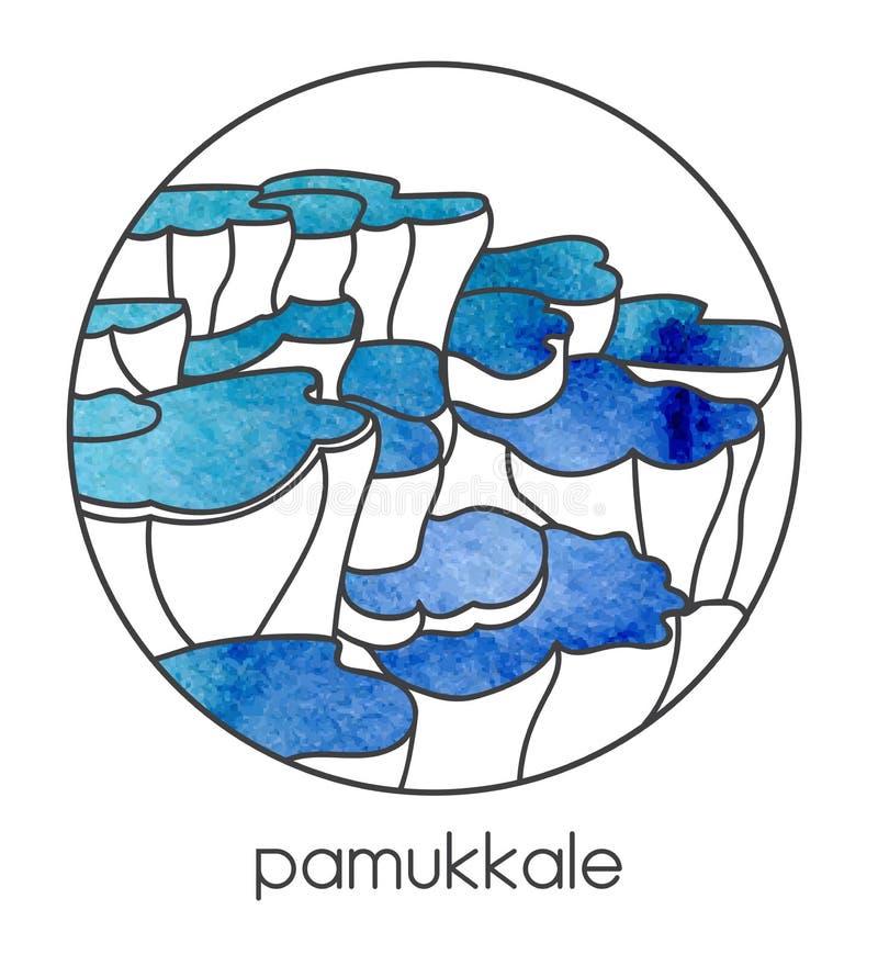 Dirigez l'illustration de la destination turque célèbre Pamukkale de point de repère et de voyage en Turquie centrale illustration stock