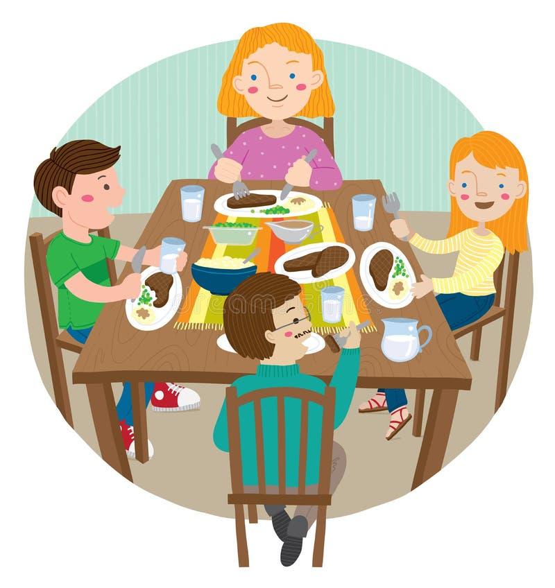 Dirigez l'illustration de la famille célébrant et recueillant pour manger un repas de thanksgiving ensemble illustration libre de droits