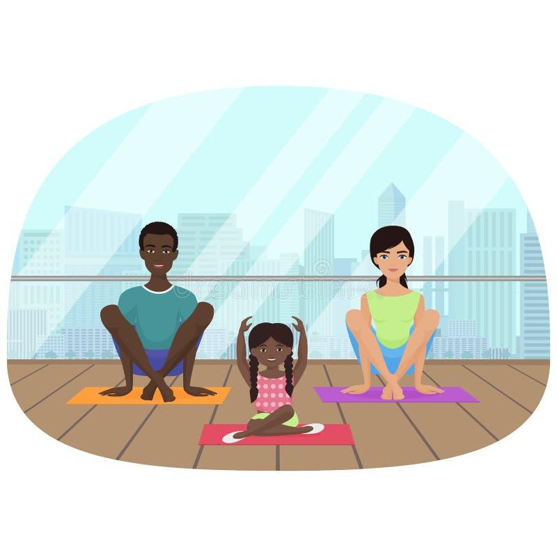 Dirigez l'illustration de la famille multi-ethnique méditant dans la chambre de forme physique sur le fond de ville illustration stock
