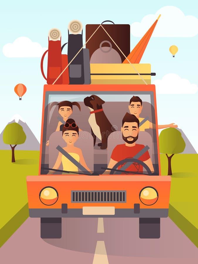 Dirigez l'illustration de la famille voyageant en voiture dans le style plat illustration de vecteur