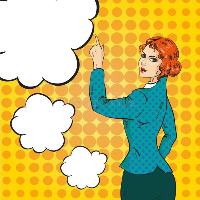 Dirigez l'illustration de la femme se dirigeant à quelque chose, style d'art de bruit illustration de vecteur