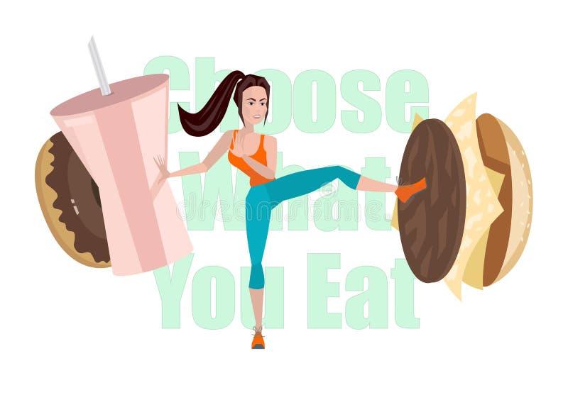 Dirigez l'illustration de la fille de forme physique luttant avec les aliments de préparation rapide illustration libre de droits