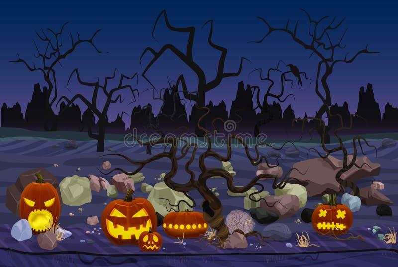 Dirigez l'illustration de la forêt de mystère avec des lanternes de potiron pour Halloween a placé dans les pierres la nuit illustration libre de droits