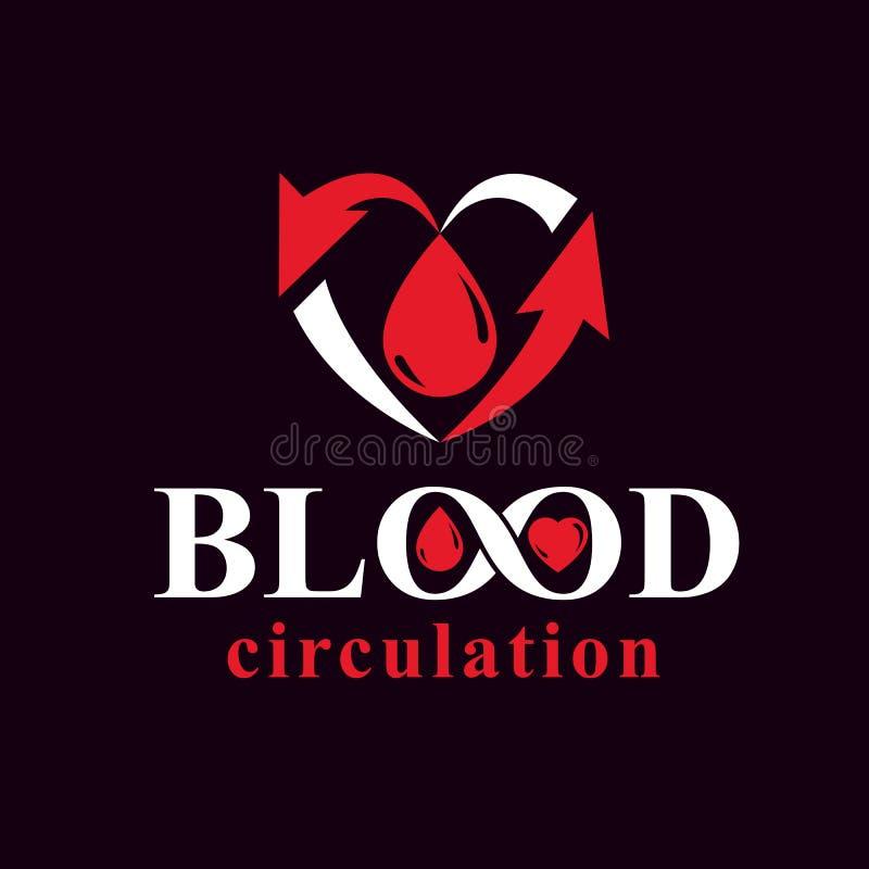 Dirigez l'illustration de la forme de coeur complètement du sang composé avec des flèches Emblème conceptuel de prévention des ma illustration libre de droits