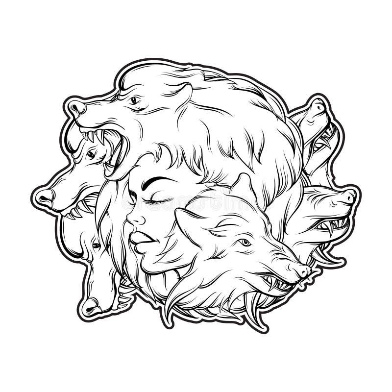 Dirigez l'illustration de la jeune belle fille avec le museau fâché du ` s de loup illustration de vecteur