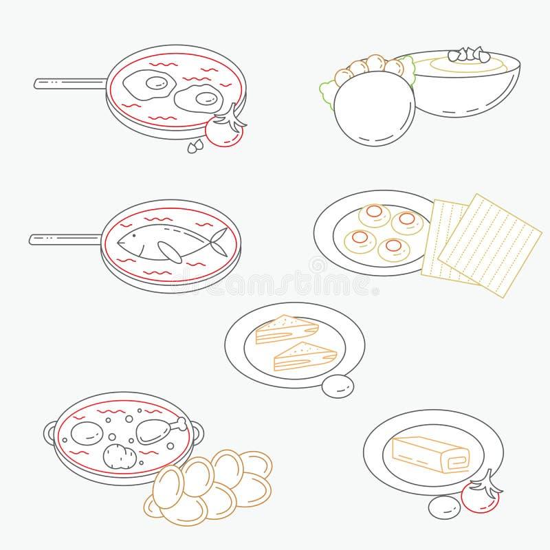 Dirigez l'illustration de la ligne icônes israéliennes de nourriture de culture illustration libre de droits