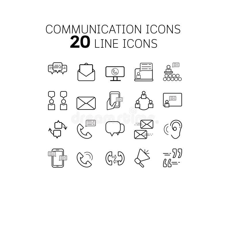 Dirigez l'illustration de la ligne mince icônes pour la communication illustration libre de droits