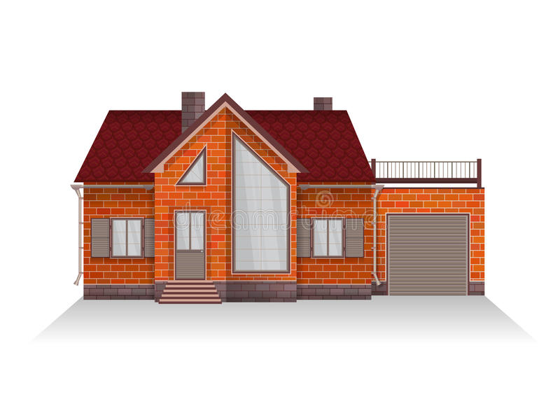 Dirigez l'illustration de la maison suburbaine détaillée de famille avec la mansarde et le garage illustration stock