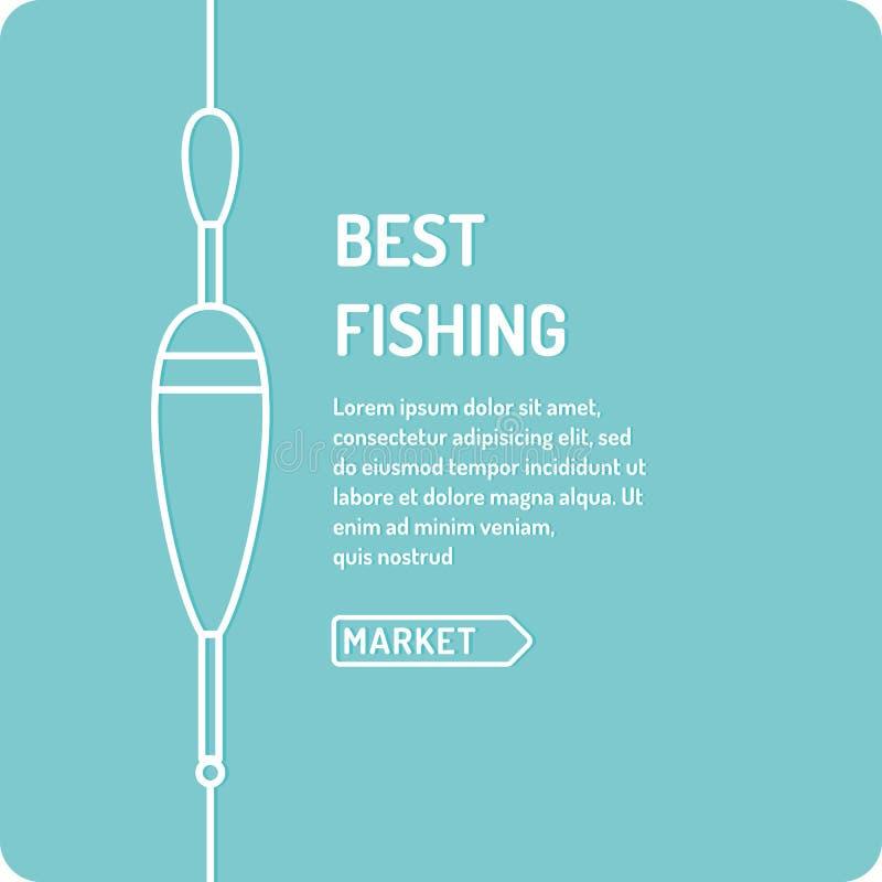 Dirigez l'illustration de la meilleure pêche dans le style linéaire avec un flotteur illustration stock