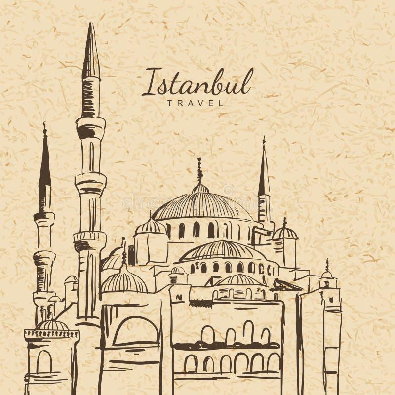 Dirigez l'illustration de la mosquée bleue sur le fond de papier de vintage illustration stock