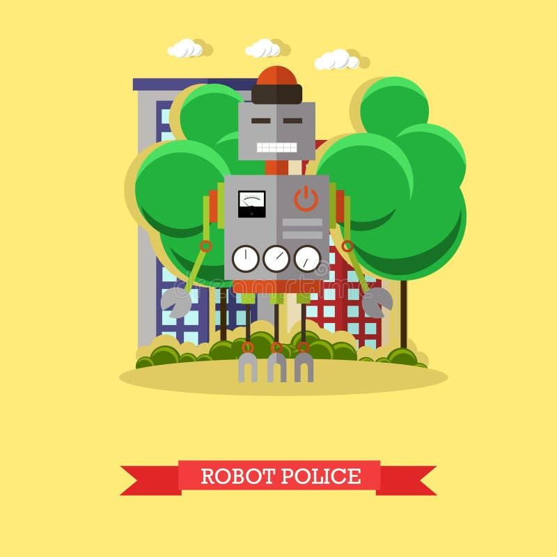 Dirigez l'illustration de la police de robot, conception plate illustration stock