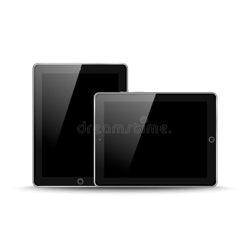 Dirigez l'illustration de la protection réaliste moderne noire de PC de comprimé avec l'écran noir sur le fond blanc Écran protec illustration libre de droits