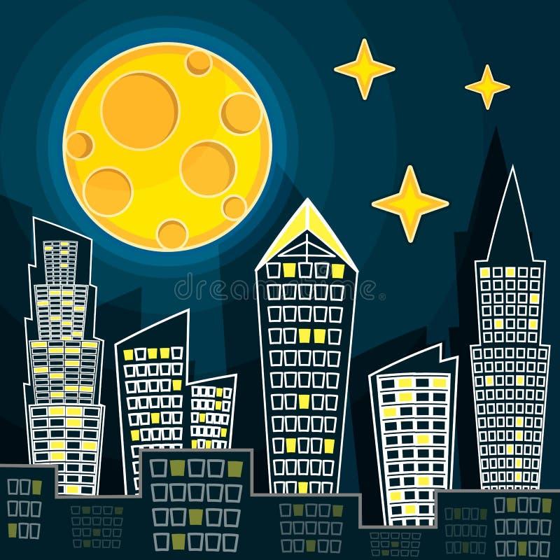 Dirigez l'illustration de la silhouette du paysage de ville de nuit sur le fond bleu-foncé de ciel avec la grande lune illustration libre de droits