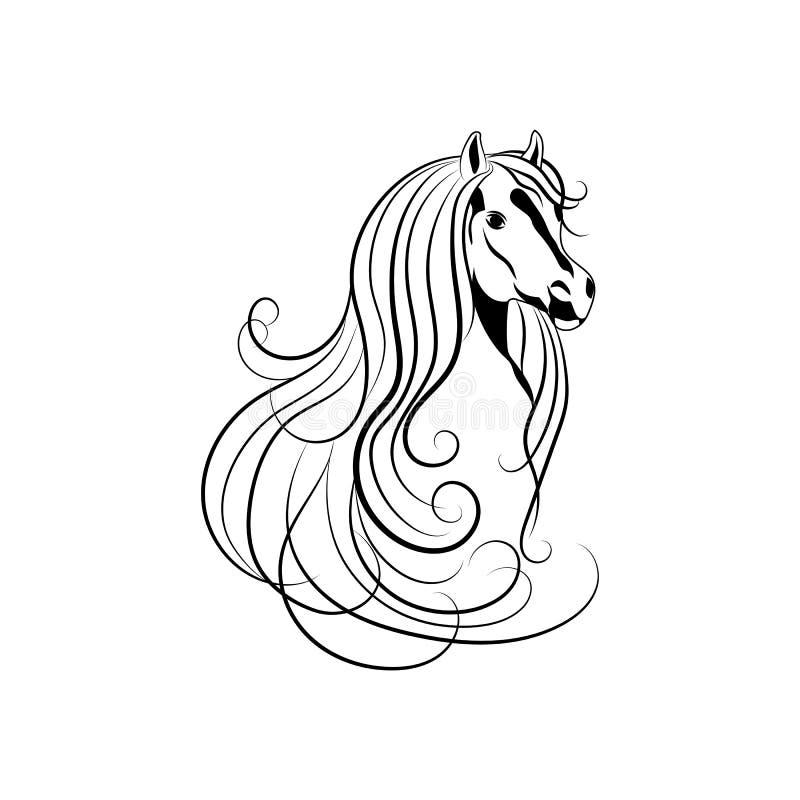 Dirigez l'illustration de la tête de cheval dans le style noir et blanc illustration libre de droits