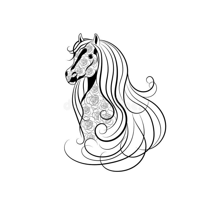 Dirigez l'illustration de la tête de cheval décorée du modèle floral dans le style noir et blanc illustration de vecteur
