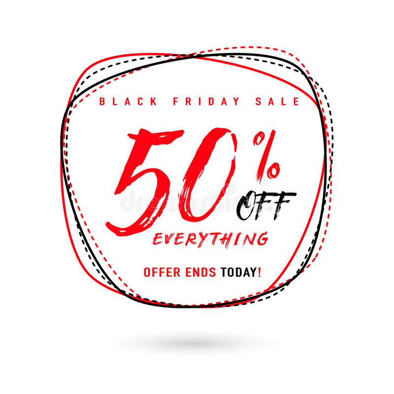 Dirigez l'illustration de la vente de Black Friday avec la remise 50 illustration stock