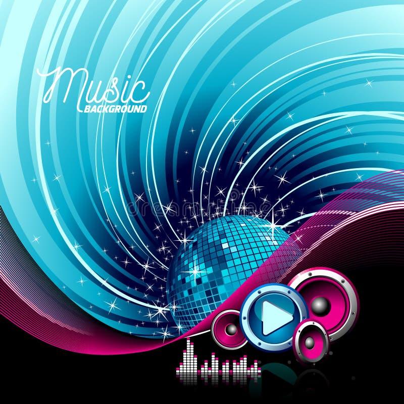 Dirigez l'illustration de musique avec des haut-parleurs et la boule de disco sur le fond grunge illustration de vecteur