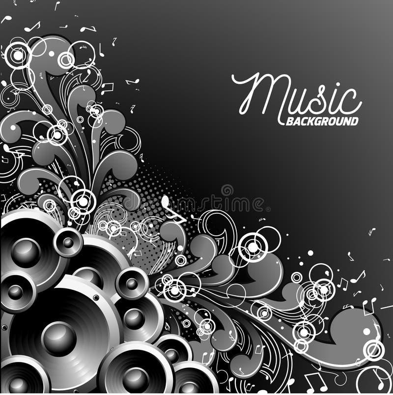 Dirigez l'illustration de musique avec des haut-parleurs sur le fond floral illustration de vecteur
