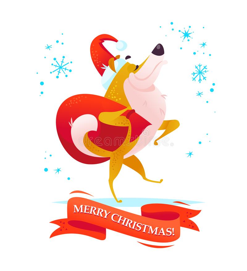 Dirigez l'illustration de Noël du caractère gai de chien dans le chapeau de Santa marchant avec le sac de cadeau d'isolement sur  illustration stock