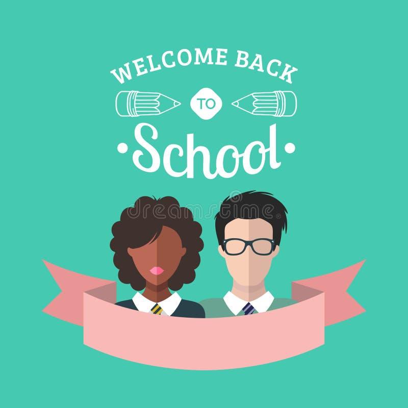 Dirigez l'illustration de nouveau à l'école dans le style plat Formation avec des icônes d'étudiants et d'élèves illustration stock