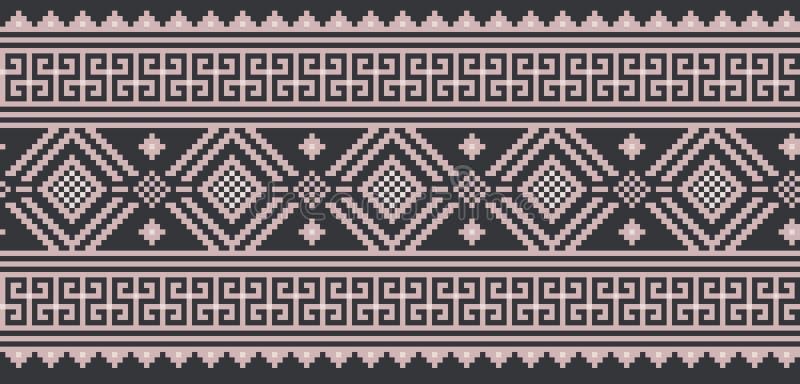 Dirigez l'illustration de l'ornement sans couture folklorique ukrainien de modèle Ornement ethnique Élément de frontière Ukrainie illustration libre de droits