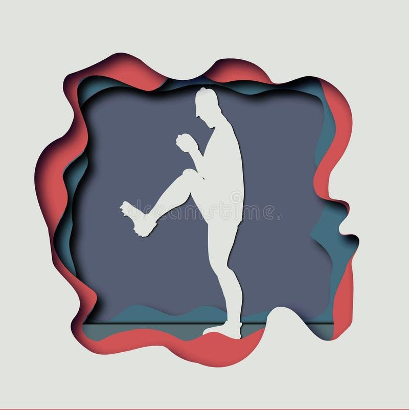 Dirigez l'illustration de papier de métier d'art d'un joueur de baseball Catc illustration stock