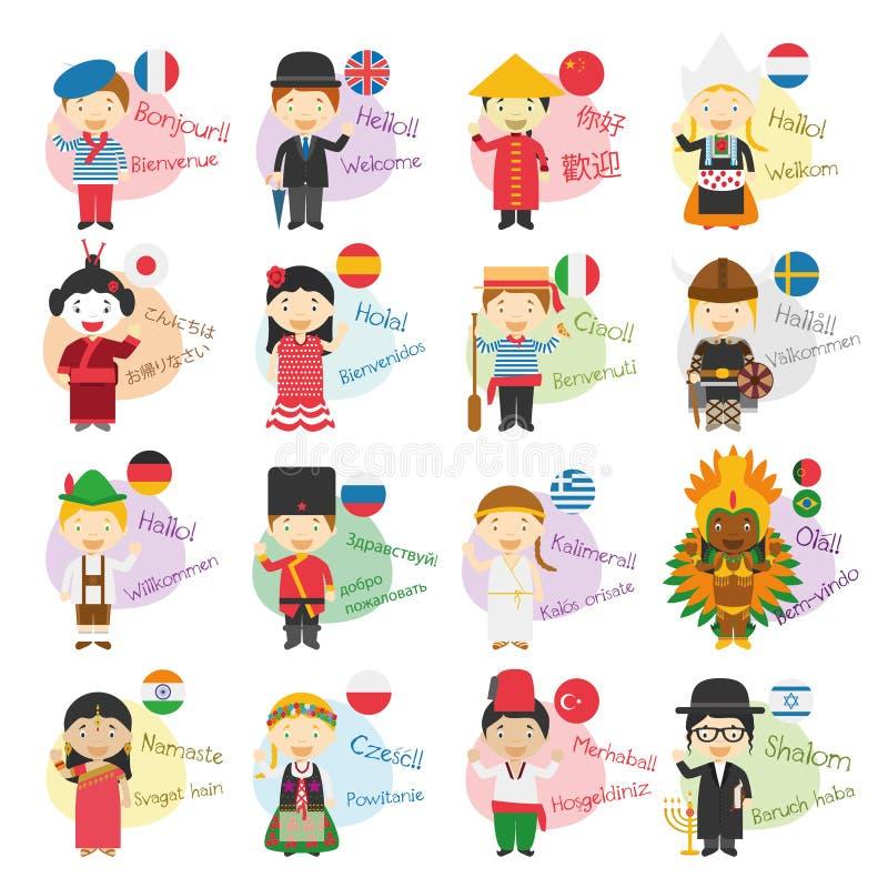 Dirigez l'illustration de 16 personnages de dessin animé disant le bonjour et l'accueillez dans différentes langues illustration libre de droits