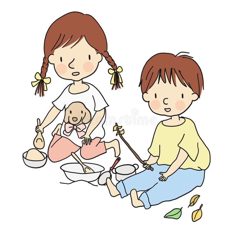 Dirigez l'illustration de petits enfants, garçon et fille, en jouant avec le sable et les jouets dans le terrain de jeu illustration de vecteur