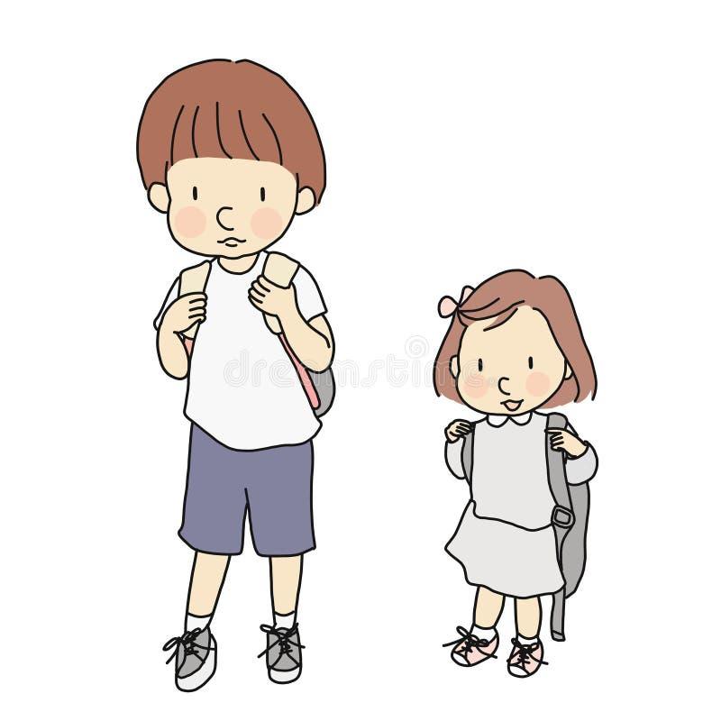 Dirigez l'illustration de petits enfants portant le sac à dos d'école Développement de la petite enfance, premier jour d'école, é illustration stock