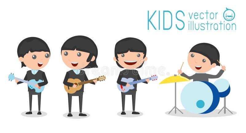 Dirigez l'illustration de quatre enfants dans une bande de musique, enfants jouant des instruments de musique illustration libre de droits