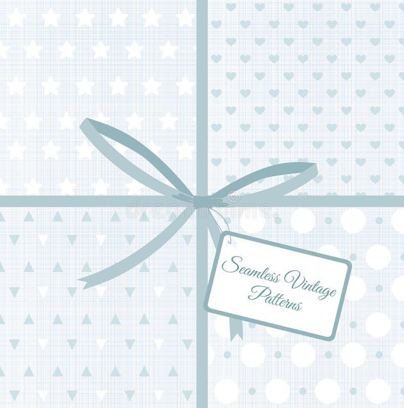 Dirigez l'illustration de rétros modèles sans couture géométriques sur des milieux de texture de tissu, toile bleu-clair de coule illustration stock