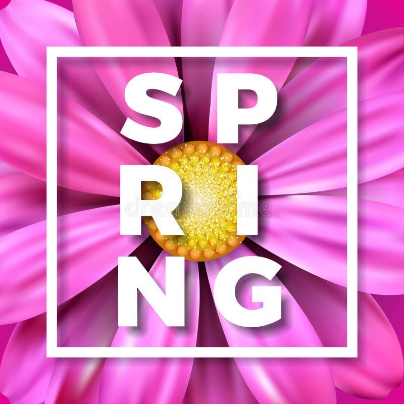 Dirigez l'illustration de ressort avec la belle fleur colorée sur le fond rose Calibre de conception florale avec la typographie illustration libre de droits