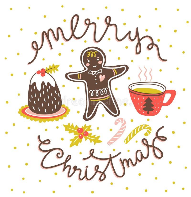 Dirigez l'illustration de salutation avec le lettrage élégant tiré par la main - Joyeux Noël illustration libre de droits