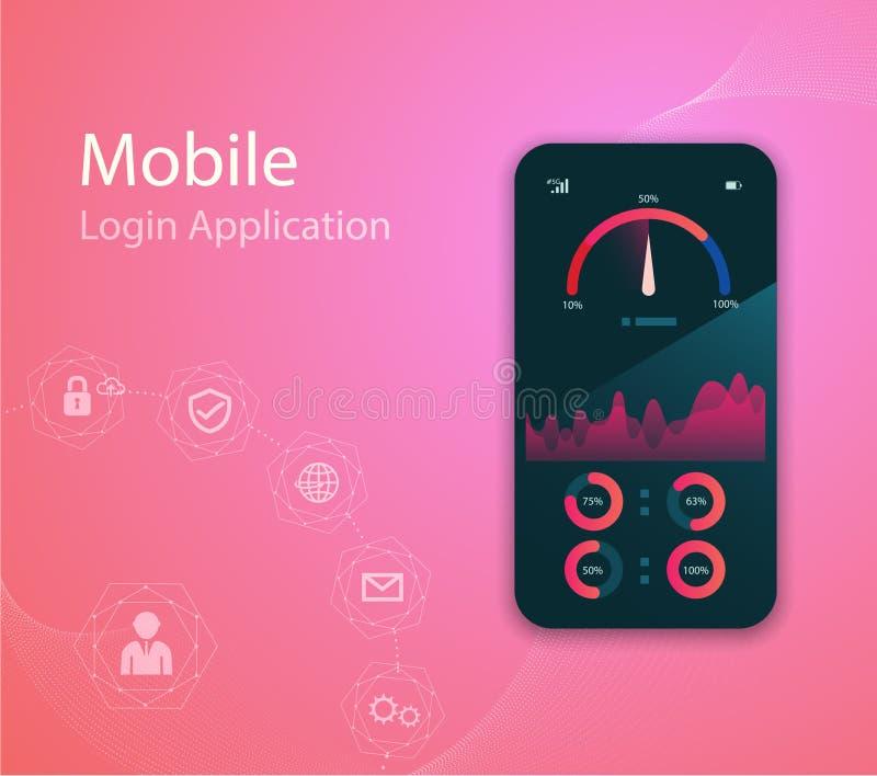 Dirigez l'illustration de technologie de media avec le t?l?phone portable et les ic?nes E Vecteur ENV 10 illustration stock