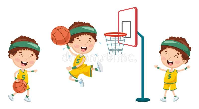 Dirigez l'illustration de l'illustration verte de NatureVector de l'enfant jouant au basket-ball illustration stock
